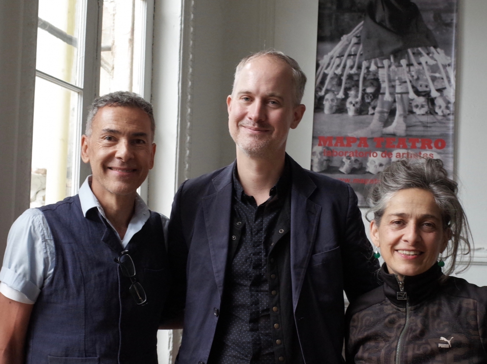 Joseph Pearson in Bogota with the directors and founders of Mapa Teatro, Rolf and Heidi Abderhalden